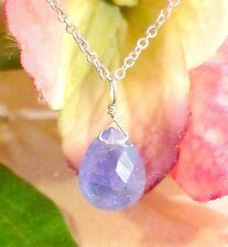 """beautiful natural tanzanite teardrop gemstone necklace 14k white gold 16"""""""