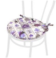Cuscino coprisedia rotondo con lacci cucina sedia morbido shabby chic lavanda