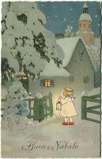 1929 Auguri Buon Natale Bambina Lampada Neve Retorto Cremona Centro FP COL VG