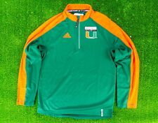 Miami Hurricanes Adidas Green Climalite Performance 1/4 Zip LS Shirt Reflective