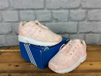 ADIDAS CHILDRENS GIRLS UK 8 ORIGINAL PALE PINK WHITE ZX FLUX  WOVEN TRAINERS