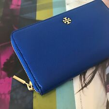 Tory Burch Jelly Blue Leather Mercer Zip Around Continental Wallet 31412 NWT