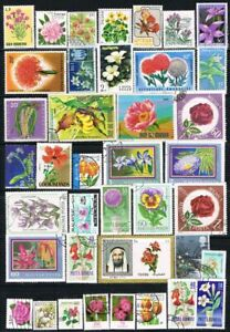 Thematics.  Nature.  Selection of 39 Flowers on stamps