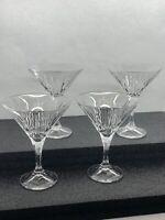 Excellent Set Of 4 Godinger Shannon Crystal Martini Glasses