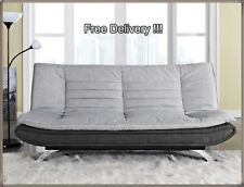 Grey Sofa Bed Double Fabric Couch Comfy Office Furniture Settee Guest Sleeper UK