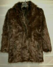 Unbranded Faux Brown Fully Lined Fur Coat Small EC!