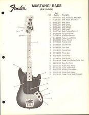 VINTAGE AD SHEET #3594 - FENDER GUITAR PARTS LIST - MUSTANG BASS 18-0400