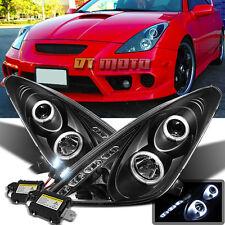 00-05 Toyota Celica Dual Halo Led Projector Black Headlights+Slim 6000K HID Kit