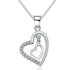 Pendant with Black Rope Lace Necklace New Modern Sterling Silver Double Heart Cz