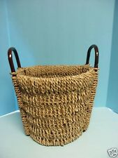 Medium Round Seagrass Wicker Laundry Toys Legos Storage Basket NEW 14.5X12.5