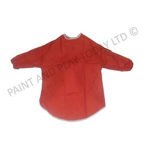 Childrens Kids Waterproof Play Apron Painting Art Craft - Red - Age 2-4 Years