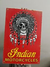 LARGE OLD VINTAGE INDIAN MOTORCYCLES PORCELAIN DEALER ADVERTISING GAS & OIL SIGN