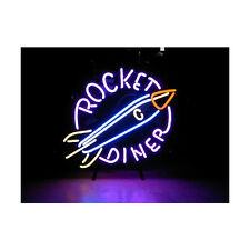 "New Rocket Diner Restaurant Open Beer Neon Light Sign 17""x14"""