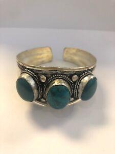 Boutique Fashion Turquoise Bracelet Pewter Adjustable Cuff Handmade Nepal B21