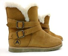 Airwalk Girls Womens Nia Ankle Boots Size 4 Tan Faux Fur Trim Pull On Shoes