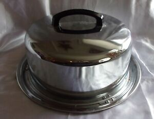 VINTAGE CAKE CARRIER HOLDER ALUMINUM PAN LID W HANDLE GENTLY USED EVEREDY CO.