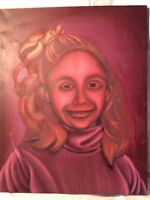 ORIGINAL ART OIL PAINTING  WEIRD ORANGE GIRL STRETCHED ON CANVAS