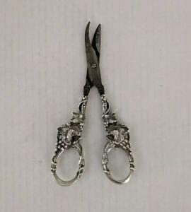 Antique Sterling Silver Ornate Grape and Vine Pattern Grape Scissors