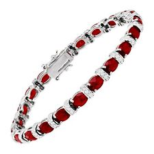 """Created Ruby & White Sapphire Tennis Bracelet in Sterling Silver, 7.25"""""""