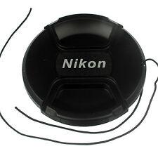 Front Lens cap 77mm center pinch snap on for Nikon DSLR camera plastic w/ string