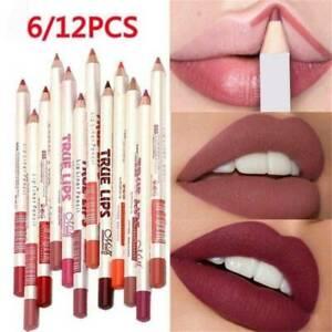 6PCS/Set Waterproof Lipstick Lip Liner Long Lasting Matte Lipliner Pencil Pen UK