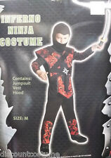 Child Inferno Ninja Costume Red Flames Warrior Halloween Costume Size Large