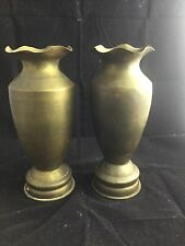 Pair WWII Large Brass Artillery Shell Trench Art Vases Dated 1944