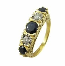 18ct Yellow Gold 0.05ct Diamond & Round Sapphire Half Eternity Ring Size N 1/2
