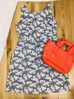 East UK12 100% Linen Floral Daisy Print Grey A line Sleeveless Summer Knee Dress