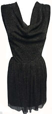 WOMENS BLACK SILVER SPARKLY GLITTER COWL NECK SLEEVELESS BOOHOO DRESS OPEN BACK