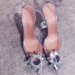 Ladies CLEAR PERSPEX High Heels Stiletto Court Shoes Sandals Pointed crystal UK