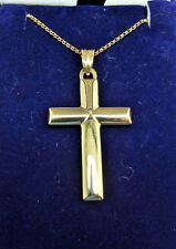 9CT HALLMARKED YELLOW GOLD MIRROR FINISH DOMED 40MM X 20MM CROSS & CHAIN OPT.