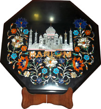 Marble Taj Mahal With Floral Real Table Top Inlaid Furniture Bedroom Decor H5669