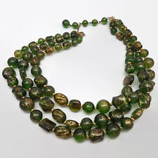Vintage Marvella Green & Gold Speckled Plastic Bead Triple Strand Necklace