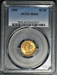 1902 $2 1/2 LIBERTY HEAD GOLD COIN, PCGS CERTIFIED MS 64,  SKU-376