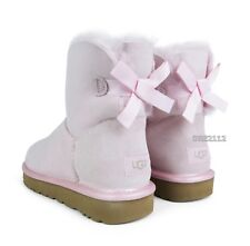 UGG Mini Bailey Bow II Metallic Sea Shell Pink Fur Boots Womens Size 10 *NIB*
