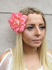 Large Peach Pink Dahlia Flower Headband Hair Crown Festival Garland Floral 1545