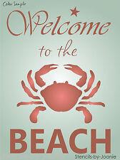 STENCIL Welcome to BEACH Crab Sea Ocean Cabin Lodge Nautical Art Decor Signs