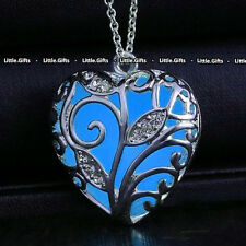 Blue Glow In The Dark Silver Necklace Unusual rare Gift For Her Wife Girl Woman