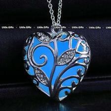 Bleu Phosphorescent Collier Argent Inhabituel rare Pour Elle Femme Fille Woman