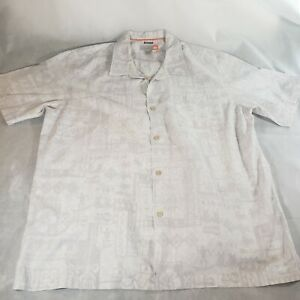 Quicksilver Gray and White Hawaiian Button Down  Shirt Adult Size XL Surf