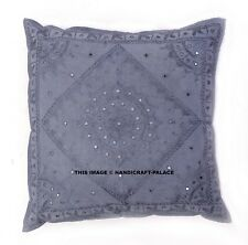 """INDIEN - 24"""" GRAY MIRROR EMBROIDERED DECORATIVE SOFA THROW PILLOW CUSHION COVER"""
