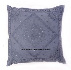 "INDIAN - 24"" GRAY MIRROR EMBROIDERED DECORATIVE SOFA THROW PILLOW CUSHION COVER"