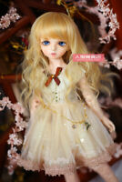 BJD Doll 1/6 6-7 Wig  Long curly Afro Hair Straight Bangs Mohair for Girl Blonde