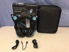Brookstone Axent Wired Cat Ear LED Headphones w/Speakers Blue‑ Excellent