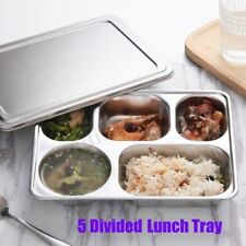 Eco Lunchbox Stainless Steel Divided Lunch Food Serving Bento Box Tray Cover