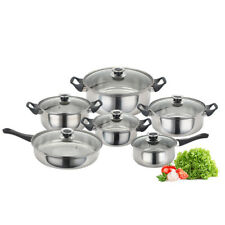 6 PCS Stainless Steel Saucepan Pan Pot Set Cookware Glass Lidded Kitchen Cook DE