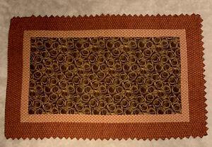 Handmade Quilt/ Wall/ Lap 41x 67 Prairie Points Brown Red Beige Machine Quilted