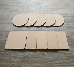 Wooden MDF Plain Coasters Table tag shapes 10cm Craft Blanks Circle & Square tea