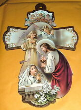 FIRST COMMUNION  JESUS  W/ GIRL LG 8 in Wood Cross NEW Religious Catholic ITALY